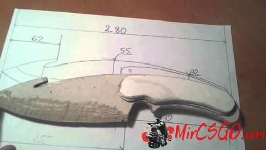 Нож с лезвием крюком кс го чертеж